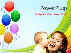 PowerPlugs: PowerPoint template with little kid kisses mother's cheeks over colorful background with balloons
