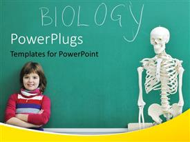 PowerPlugs: PowerPoint template with little kid leaning over chalkboard in biology class with human skeleton