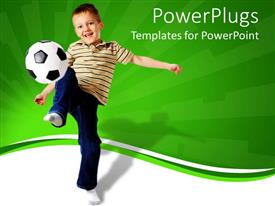 PowerPlugs: PowerPoint template with little kid smiling as he joggles soccer ball with green and white background