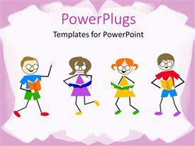PowerPlugs: PowerPoint template with little kids dancing and reading book on white background with pink frames