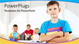 PowerPoint template displaying little male pupil in blue holding books in a classroom