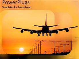 PowerPlugs: PowerPoint template with live long relax travel towards the orange yellow sunset landing in the airport