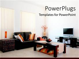 PowerPoint template displaying living room with modern furniture and tv vase with flowers double sofa with pillows coffee table