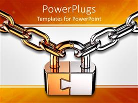 PowerPoint template displaying a lock being held with two steel chains and whitish background