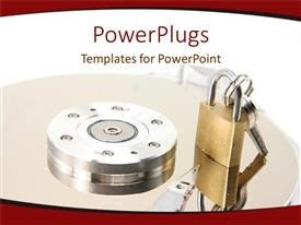 PowerPoint template displaying a lock with a key on a round table