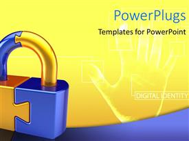 PowerPlugs: PowerPoint template with a large gold and blue padlock with a palm on the background