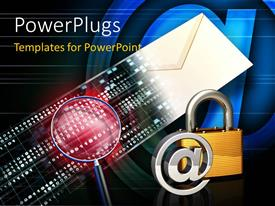 PowerPlugs: PowerPoint template with the lock with the sign @ and an envelope in background