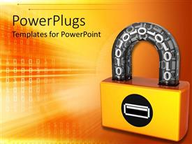 PowerPlugs: PowerPoint template with a lock with yellowish background and place for text