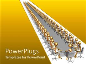 PowerPlugs: PowerPoint template with long conference table with gold plated men seated round