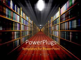PowerPlugs: PowerPoint template with long corridor lined with shelves full of books