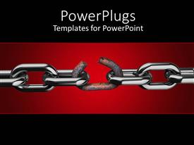 PowerPlugs: PowerPoint template with long metal chain with a rusted and broken one in the middle