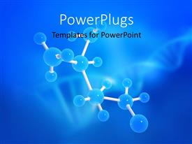 PowerPlugs: PowerPoint template with a long molecule strand with blue nodes on a blue background