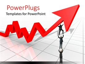 PowerPlugs: PowerPoint template with long red arrow with three business people on a shiny white background