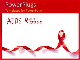 PowerPlugs: PowerPoint template with a long red ribbon and a text that spell out the words 'AIDS Ribbon '