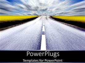 PowerPlugs: PowerPoint template with long road driving to destination as a metaphor journey trip on black background