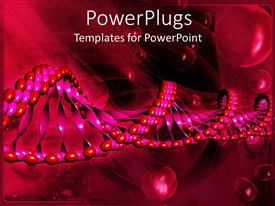 PPT enhanced with long single 3D molecular DNA strand on a wine colored background