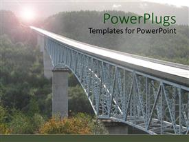 PowerPlugs: PowerPoint template with long steel structured bridge on a natural green landscape