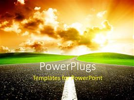 PowerPlugs: PowerPoint template with a road to redemption with clouds in background
