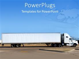 PowerPlugs: PowerPoint template with long truck on road with blurry airplane in blue sky