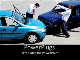 PowerPoint template displaying look what you've done!  car crash accident  anger and worry  call 911