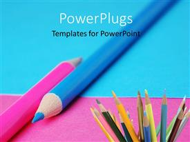 PowerPlugs: PowerPoint template with los of color pencils on a blue and pink background