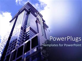 PowerPoint template displaying lose up view of a tall building showing the sky
