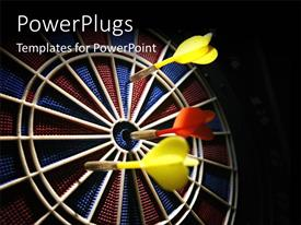 PowerPlugs: PowerPoint template with a lot of arrows with one hitting the bulls eye