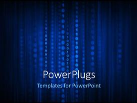 PowerPlugs: PowerPoint template with a lot of binary numbers in the form of lines with bluish background