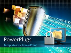 PowerPlugs: PowerPoint template with a lot of binary numbers with a lock