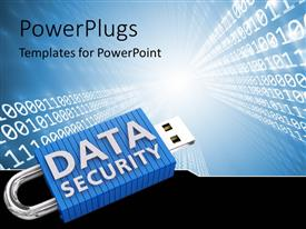 PowerPlugs: PowerPoint template with a lot of binary numbers with a lock and bluish background