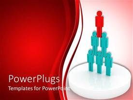 PowerPlugs: PowerPoint template with a lot of blue and red colored people forming a pyramid