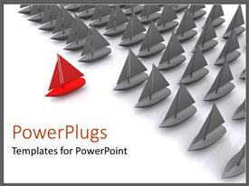 PowerPlugs: PowerPoint template with a lot of boats being lead by a red one
