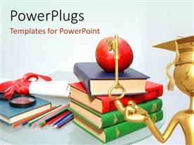 PowerPlugs: PowerPoint template with a lot of books with a key and a graduate