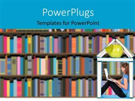 PowerPlugs: PowerPoint template with a lot of books in the racks with a girl