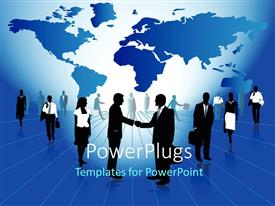 PowerPlugs: PowerPoint template with a lot of business men and women standing over a map background
