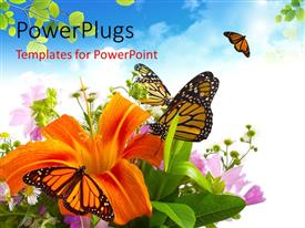 PowerPlugs: PowerPoint template with a lot of butterflies with clouds in background