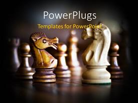 PowerPlugs: PowerPoint template with a lot of chess pieces with blurr background