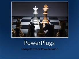 PowerPlugs: PowerPoint template with a lot of chess pieces with greyish background