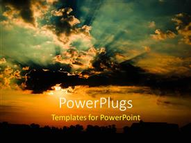 PowerPlugs: PowerPoint template with a lot of clouds on the sky with place for text