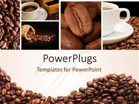 PowerPlugs: PowerPoint template with a lot of coffee beans and a cup of coffee