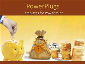 PowerPoint template displaying a lot of coins with a bag and a piggy bank