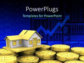 PowerPlugs: PowerPoint template with a lot of coins with a house and graph in background