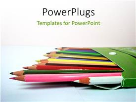 PowerPlugs: PowerPoint template with a lot of color pencils and white background