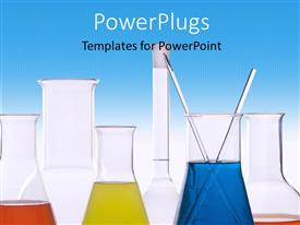 PowerPlugs: PowerPoint template with a lot of colorful chemicals with bluish background