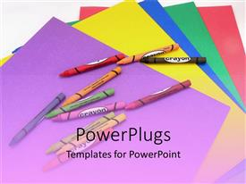 PowerPlugs: PowerPoint template with a lot of crayon colors with charts in the background