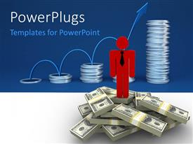 PowerPlugs: PowerPoint template with a lot of dollar bundles with coins in the background