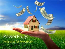 PowerPlugs: PowerPoint template with a lot of dollar notes in the air