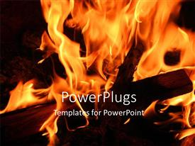 PowerPlugs: PowerPoint template with a lot of fire with ablackish background and place for text