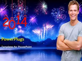 PowerPlugs: PowerPoint template with a lot of fireworks celebrating new year