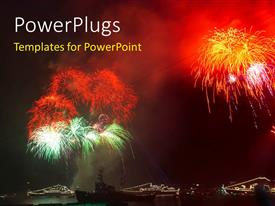 PowerPlugs: PowerPoint template with a lot of fireworks with ships in the sea